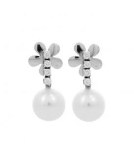 Arracades brillants 0,38 quirats or blanc perla australiana