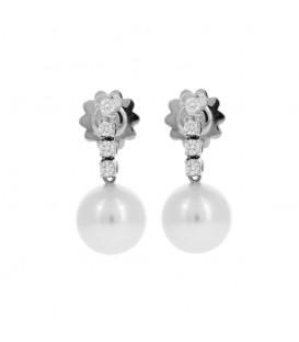 Pendientes brillantes 0,39 quilates oro blanco perla australiana