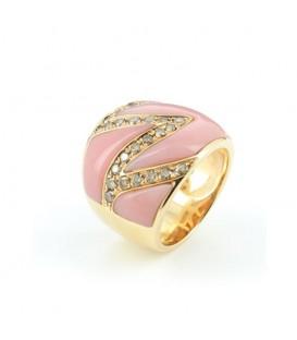 Anell or rosa amb brillants brown 0,85quirats i opal rosa