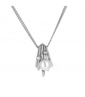 Penjant i cadena or blanc Kailis Orbit perla australiana i brillants 0,30 quirats
