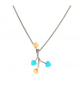Penjant i cadena or blanc amb turquesa, corall i brillants