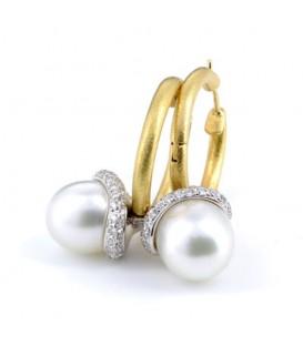 Arracades or groc Kailis Aria perles australianes i brillants 0,90 quirats