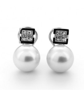 Pendientes princesas 0,65 quilates oro blanco perla australiana