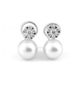 Pendientes oro blanco perla australiana y brillantes 0,68 quilates