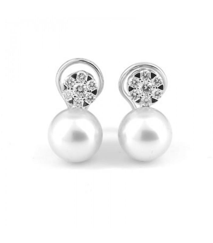 diseño atemporal 26a89 53daf Pendientes oro blanco perla australiana y brillantes 0,68 quilates