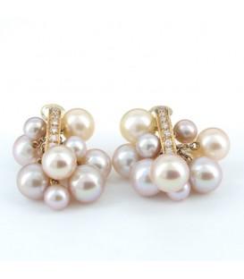 Arracades or rosa perla cultivada i brillants 0,24 quirats