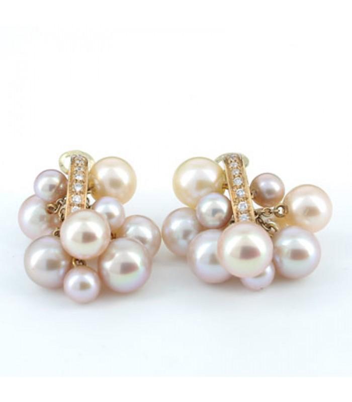 0eb9bbe72063 Pendientes oro rosa perla cultivada y brillantes 0