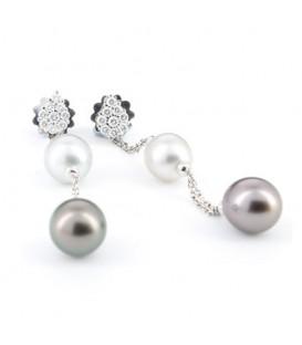 Arracades or blanc Damiani Eden amb perlas Tahiti i brillants 0,46 quirats