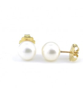 Pendientes perla cultivada 11 milímetros con oro amarillo