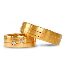 Aliança boda or groc Curved