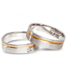 Aliança boda or bicolor Antares