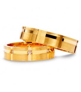 Alianza boda oro amarillo Double Diam