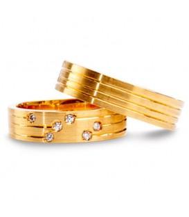 Alianza boda oro amarillo Stripe
