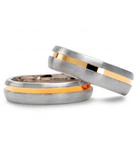 Alianza boda oro bicolor Braid