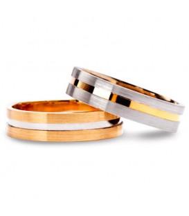 Aliança boda or bicolor Flat