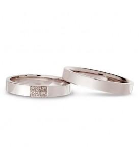 Alianza boda oro blanco Crease