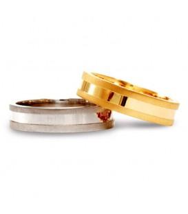 Aliança boda or bicolor Hint