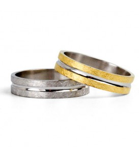 Aliança boda or bicolor Nine