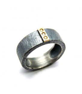 Aliança boda plata i or amb diamants Trend