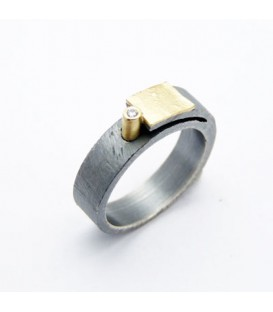 Aliança boda plata i or amb diamants Bold