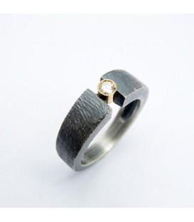 Aliança boda plata i or amb diamants Gap