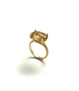 Anillo oro amarillo Nanis y cuarzo rutilado