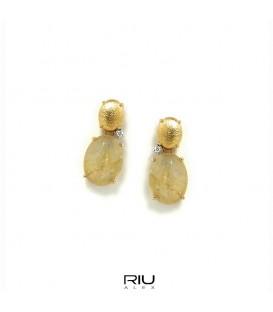 Pendientes oro Nanis con brillantes y cuarzo rutilado