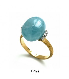 Anell or groc Nanis amb brillants i beril blau