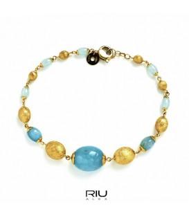 Pulsera oro amarillo Nanis y gemas de color
