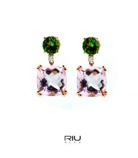 Pendientes oro rosa 750/000 con peridoto, amatistas y diamantes